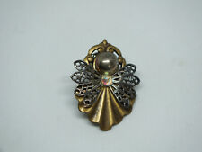 "Beautiful Brooch Pin Angel Brass Silver Tone Ab Rhinestones 1 1/2 x 1"" Cute"