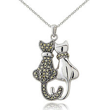 Sterling Silver Marcasite Double Cat Necklace