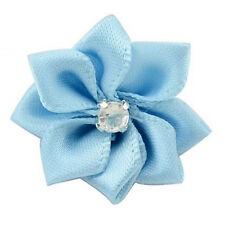 50pcs Satin Ribbon Flower Appliques Bows Rhinestone Craft DIY Wedding Trims Sew