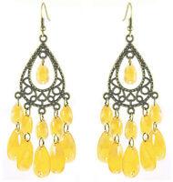 C1246 bronze water drop yellow bead cute women chandelier/dangle hook earrings