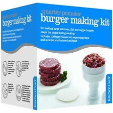 LARGE QUARTER POUNDER HAMBURGER BURGER MAKER PRESS + 100 Wax Discs & Recipes
