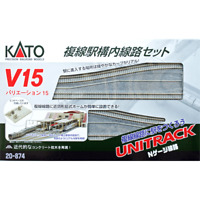 Kato N Scale ~ New 2020 ~ V15 Double Track Set For Station ~ 20-874