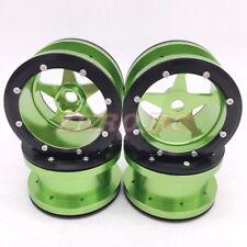 "4PCS 1/10 RC AXIAL Wraith Wheels 2.2"" 5-Star ALUMINUM Beadlock Wheel Rim GREEN"