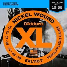 D'Addario EXL110-7 XL Cuerdas para Guitarra Eléctrica Regular de luz 10-59 para 7 Cuerdas