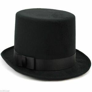 Mens Tuxedo Victorian Steampunk Black Costume Top Hat Deluxe Felt High Crown Hat