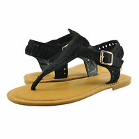 Women's Shoes Bamboo Seashore 31S Braided T-Strap Buckled Sandals Black *New*