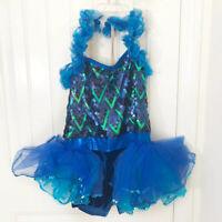 A Wish Come True Dance Costume Girls Child Blue Ruffle Sequin Biketard Size XLC