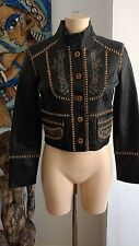 Nolita Brown Printed/Leather Stitched Antique Leather Jacket NWT RRP £599