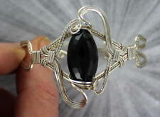 Black Onyx Sterling Silver Bracelet wire wrapped size 7 1/2