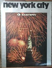 "VINTAGE TRAVEL POSTER~Eastern Airlines 1985 New York City 30x40"" Statue Liberty~"