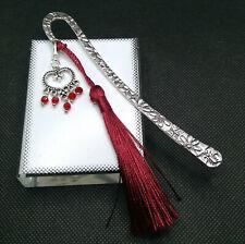 DREAM CATCHER HEART RED  +TASSEL Metal BOOKMARK FREE Gift Box+Tag FRIEND MUM DAD