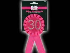Happy 30th Big Compleanno Glitzy ROSETTA Award Ribbon Rosa caldo con diamanti