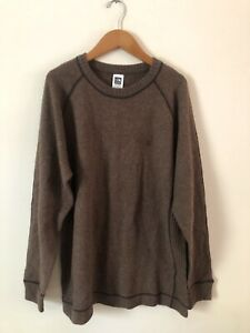 The North Face Mens Brown Pullover Wool Cotton Blend Long Sleeve Sweater Size L