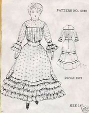 "22""ANTIQUE/VINTAGE CHINA HEAD/PARIAN FRENCH FASHION LADY DOLL@1872 DRESS PATTERN"