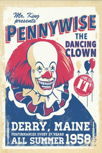 1990 Stephen King IT > Pennywise The Dancing Clown > Derry Maine Poster/Print 🤡