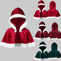Les femmes Cloak Matching Party Hooded Velvet Noël Cape Santa Haut Manteau