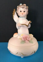 Napco Angel Kneeling Holding Bible Trinket Jewelry Box Japan Natl Potteries