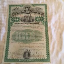 $1000 1892 Louisiana Bond signed By Former Governor Foster - Lily White GOP