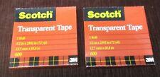 2 rolls x Scotch Brand Tapes 3M 600 Transparent Tape Refill 1/2 inch x 36 yds