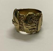 Solid Heavy 9ct Gold Plated/925 Sterling Silver Double Buckle Ring. Brand New