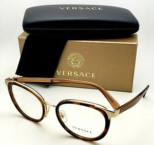 New VERSACE Rx-able Eyeglasses 1249 1411 52-18 Tortoise Brown Transparent Frames