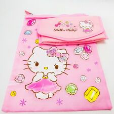 Sanrio Hello Kitty Bag Set Pink Gems Makeup Bag Nylon Fabric Set of 2 Graphic