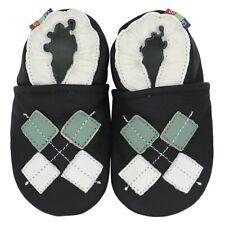 carozoo argyle black 12-18m soft sole leather baby shoes