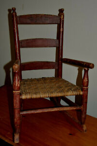 Antique Childs Rocking Chair Hard Wood Frame with Rush Woven Seat Orig Paint Red