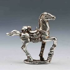 EXQUISITE CHINESE SILVER COPPER HANDWORK CARVED HORSE STATUE