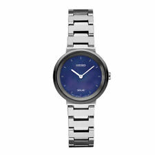 Seiko Women Solar Silver Stainless Steel Blue Mother of Pearl Dial Watch SUP385