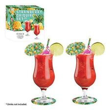 Classic Daiquiri Cocktail Glass Gift Set Drinking Glasses Umbrellas Accessories
