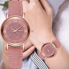 Женские дамские белый кристалл циферблат кварцевые аналоговые наручные часы кожаный браслет часы