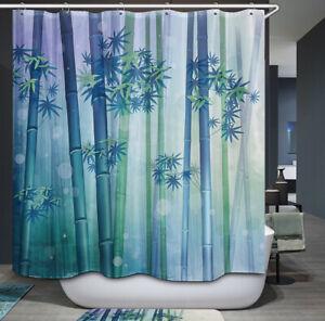 Bamboo Forest Shower Curtain Blue Green Tranquil Tree Asian Tropical Jungle Zen