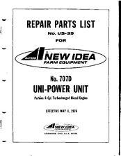 AVCO New Idea Parts List 707D Uni-Power Unit Perkins 6 Cyl Turbo Diesel Engine