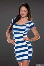 Party Club Wear Elegant White/Blue Horizontal Stripes Mini Dress UK size 10-12