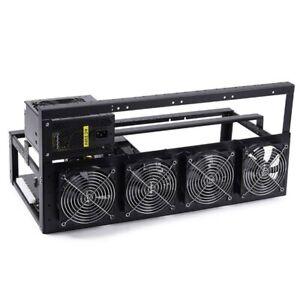 6/8 GPU Miner Case Open Air Mining Frame Rig Stackable Holder W/ 4*Cooling fans