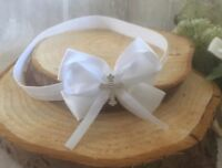 Baby Girl Pure White Christening Headband Baptism Wedding Bow Cross Hairband