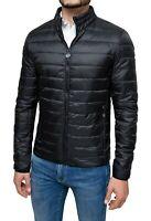 Giubbotto piumino uomo 100 grammi nero slim fit giacca bomber impermeabile