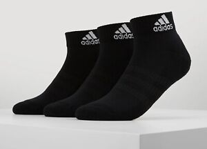 ADIDAS 3 Stripe Performance Cushioned 3 Pack Ankle Trainer Socks Black Size 5-6