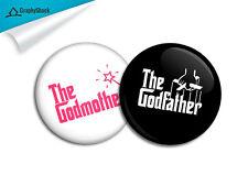 Godfather Godmother Badge Combo BIG 2-1/4 inch 58mm Button Pinback Keepsake