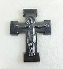 Ancien crucifix en céramique émaillée noire satinée 50's ELCHINGER ?