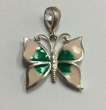 REAL STERLING SILVER Pink & Green Enamel Butterfly PENDANT 7.2g