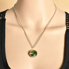 Friends Jewelry Real Green Lucky Shamrock Four Leaf Clover Pendant Necklace Gift