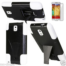 White Kickstand Hybrid Rugged Hard Combo Case Cover For Samsung Galaxy Note3 III