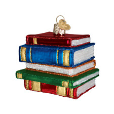 """""""Stack of Books"""" (32112)X Old World Christmas Ornament w/OWC Box"""