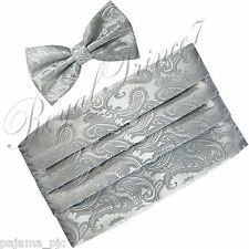 Brand New Paisley Silver Gray Men's Cummerbund And Butterfly Bow tie