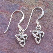 Trinity Knot Earrings Hook small tiny 925 Sterling Silver Celtic Irish Triquetra