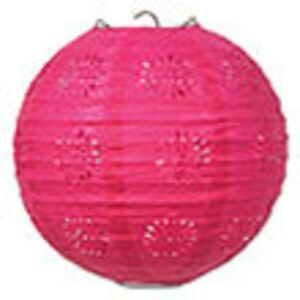 "3 hot pink paper lace pattern lanterns 8"" diameter wedding party decorations"