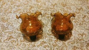 """Vintage Lot of 2 Amber Ruffle Home Interiors Peg Votive Cups Candle Holders 4""""T"""