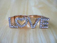 """Cubic Zirconia Pave """"LOVE"""" Connector Ring Goldtone Metal 2 Finger Ring 8/9~L/XL"""
